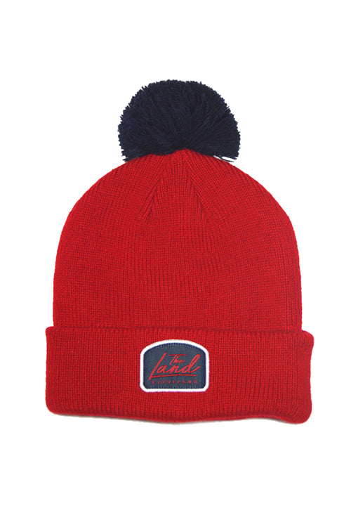 The Land Script - Knit Pom Beanie - Red & Navy