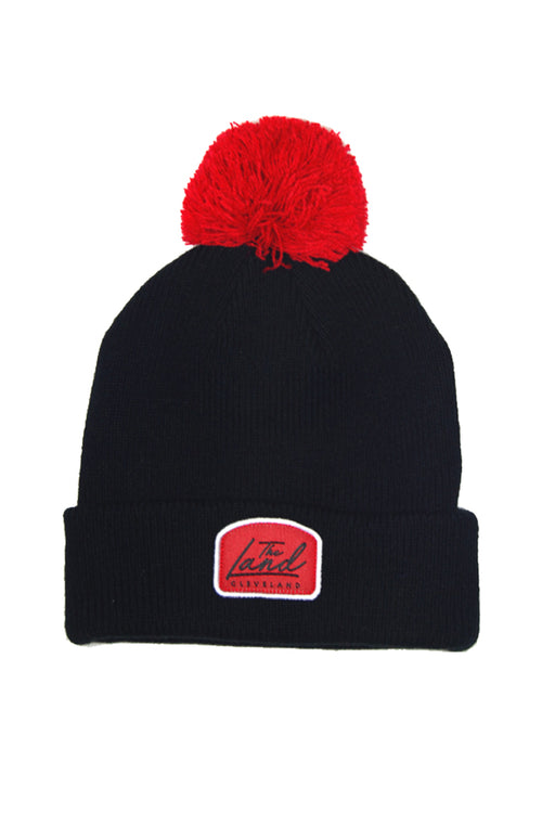 The Land Script - Knit Pom Beanie - Black & Red