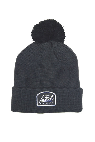 The Land Script - Knit Pom Beanie - Dark Grey & Black