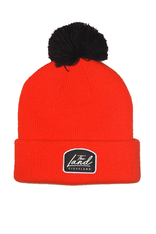 The Land Script - Knit Pom Beanie - Orange & Brown
