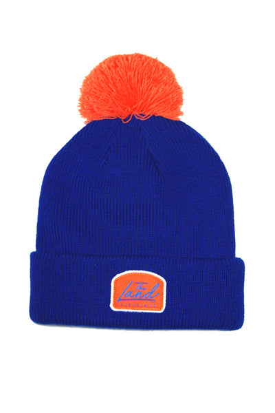The Land Script - Knit Pom Beanie - Royal Blue & Orange