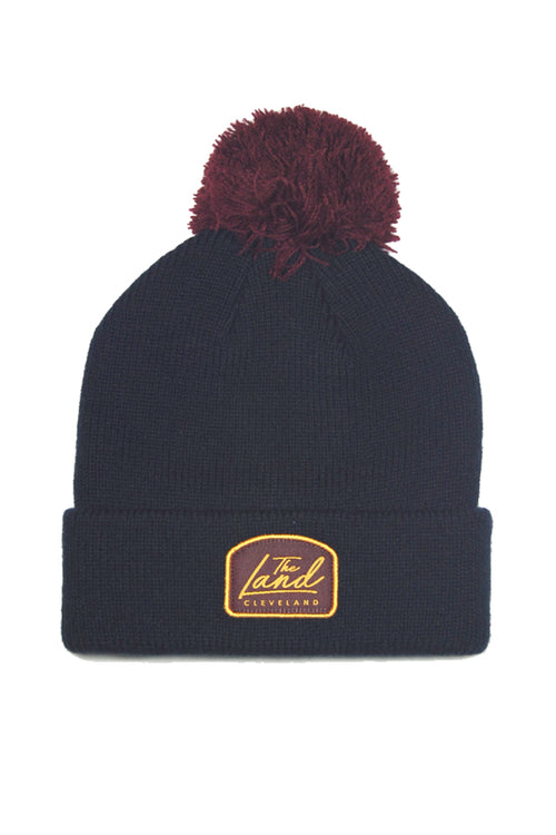 The Land Script - Knit Pom Beanie - Navy & Wine