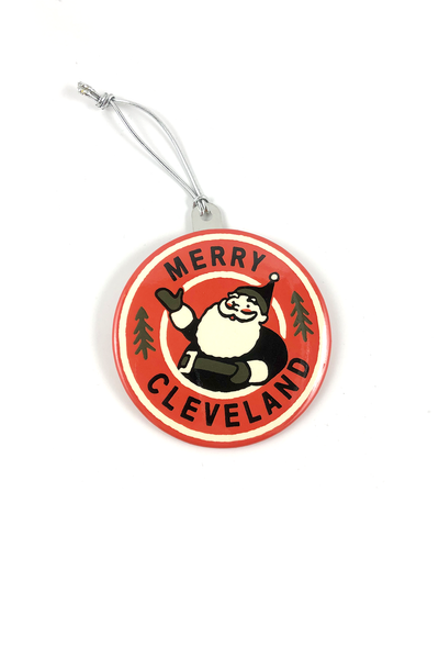 Merry Cleveland Santa Ornament