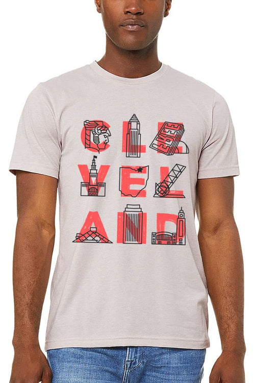CLE VEL AND Landmarks - Unisex Crew - Cool Grey