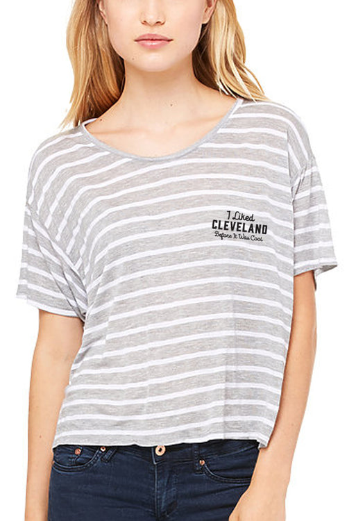CLE Hipster - Embroidered - Flowy Boxy Crop Tee