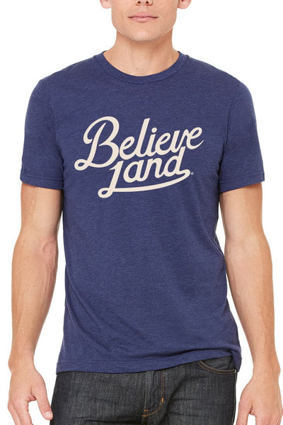 Believeland Script Navy/Red - Unisex Crew - CLE Clothing Co.