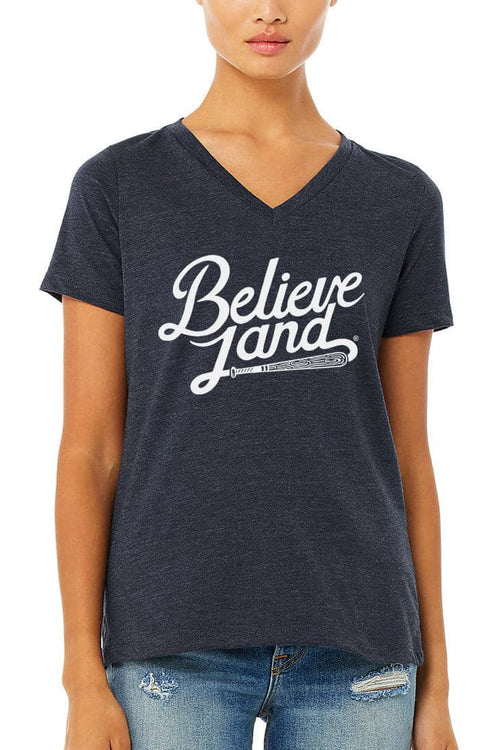 Believeland Script Baseball Bat - Womens Relaxed V-Neck