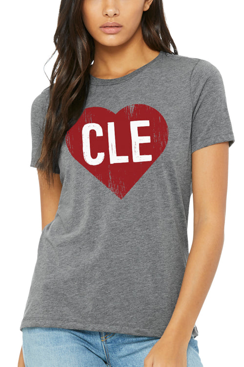 CLE Heart - Womens Relaxed Fit Crew