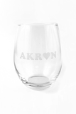 Akron Love Stemless Wine Glass - CLE Clothing Co.