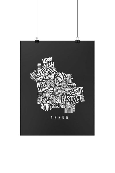 Akron Word Collage Map - Print - CLE Clothing Co.