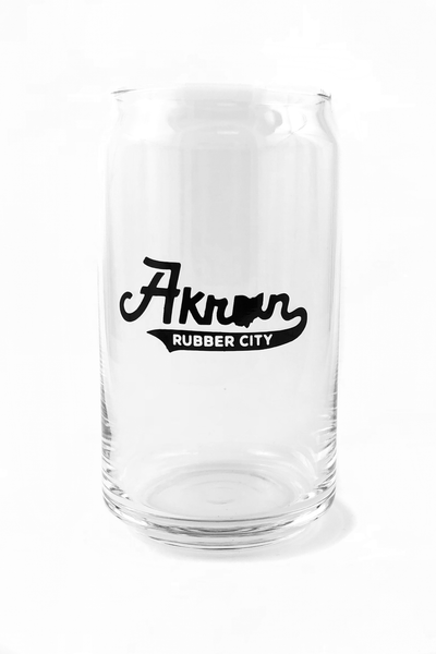 Akron Rubber City Script Pop Can Glass