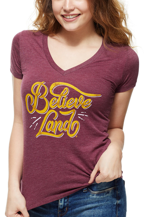 Believeland - Wine/Gold - Women's V-Neck