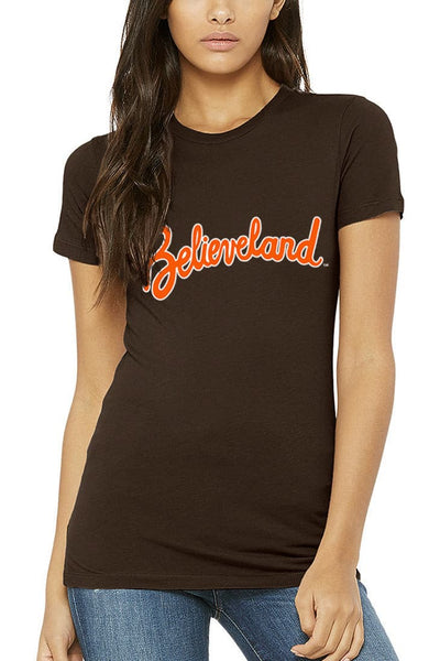 Believeland Script Gridiron - Womens Crew - CLE Clothing Co.