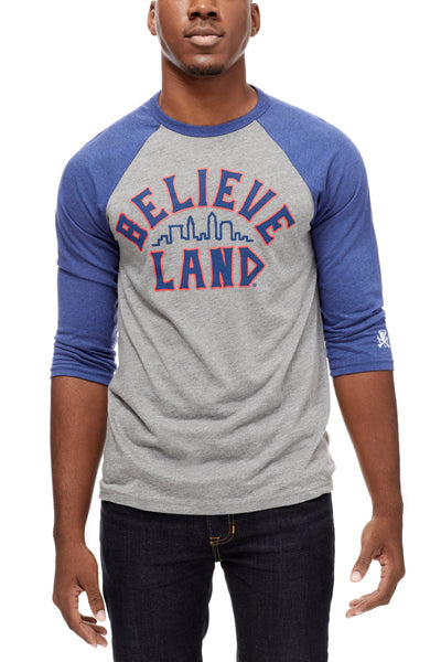 Believeland - Navy/Red - Unisex Raglan - Navy/Grey - CLE Clothing Co.