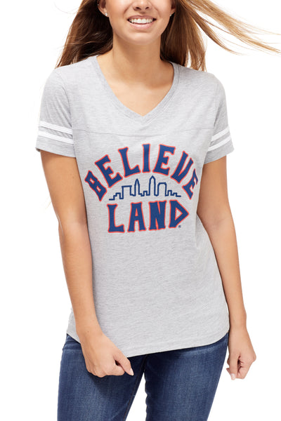 Believeland - Navy/Red - Womens V-Neck Jersey