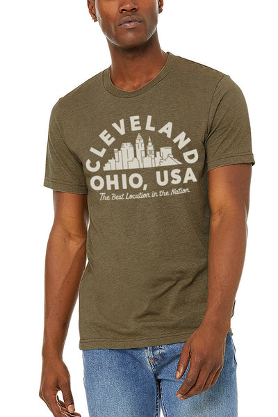 Best Location Skyline - Unisex Crew - Olive - CLE Clothing Co.