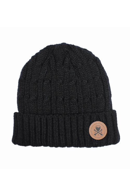 CLE Logo Cable Knit Beanie - Black
