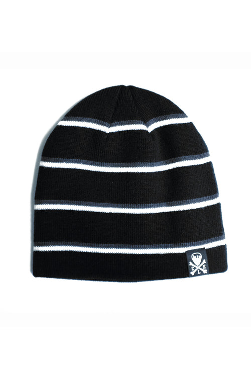 CLE Logo Striped Knit Beanie - Black/Grey/White