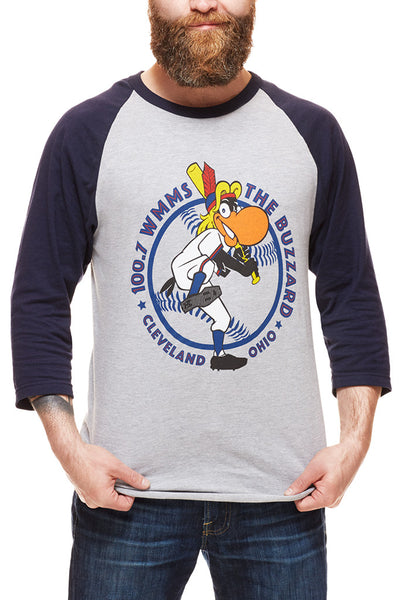 The Buzzard - Navy/Red - Unisex Raglan - CLE Clothing Co.