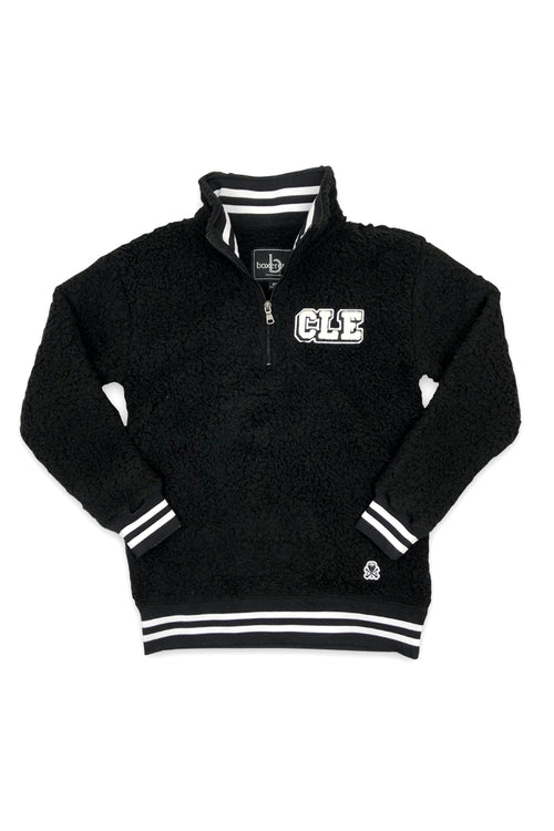 CLE College Quarter Zip Sherpa - Black - CLE Clothing Co.
