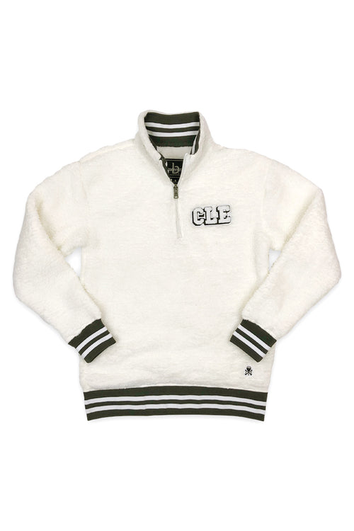 CLE College Quarter Zip Sherpa - White - CLE Clothing Co.