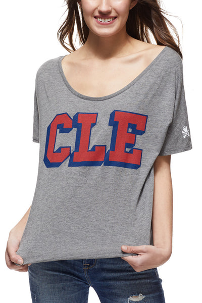CLE College - Navy/Red - Women's Boxy Tee - CLE Clothing Co.