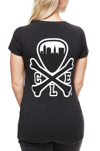 CLE Logo - Womens Crew - Tri Black - CLE Clothing Co.
