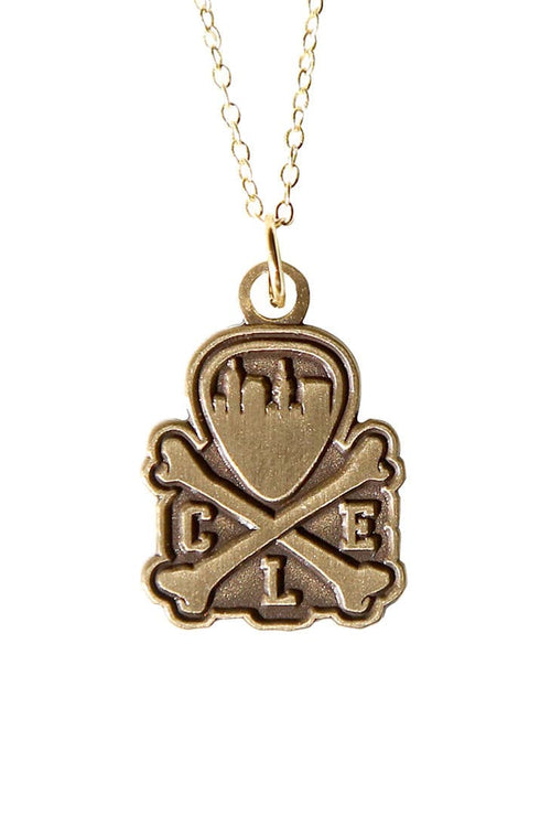 CLE Logo Pendant Necklace - Old Gold