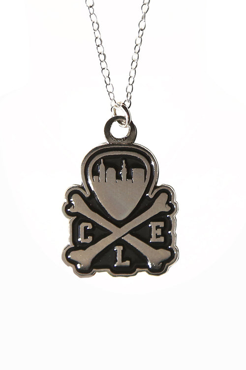 CLE Logo Pendant Necklace - Silver & Black - CLE Clothing Co.