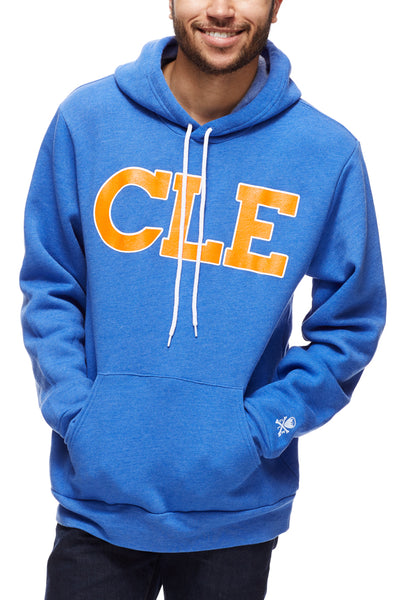 CLE Old School  80's- Blue/Orange - Pullover Hoodie - CLE Clothing Co.