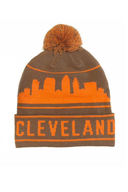 Cleveland Skyline Pom Beanie - Brown Orange 6bd1369e3471
