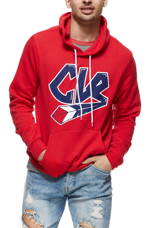 CLE Script Pullover Hoodie - Ballpark - Red