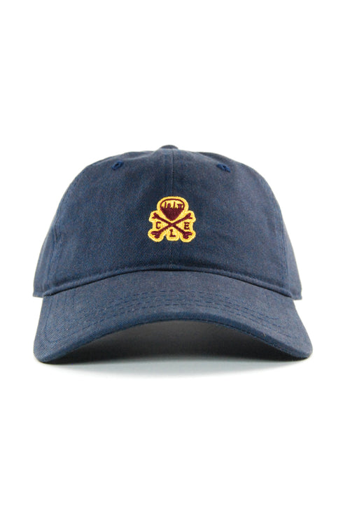 CLE Mini Logo Dad Hat - Wine/Gold - Navy