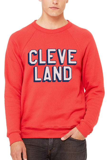 The Land Script - Women's Pullover Fleece Crew - Red