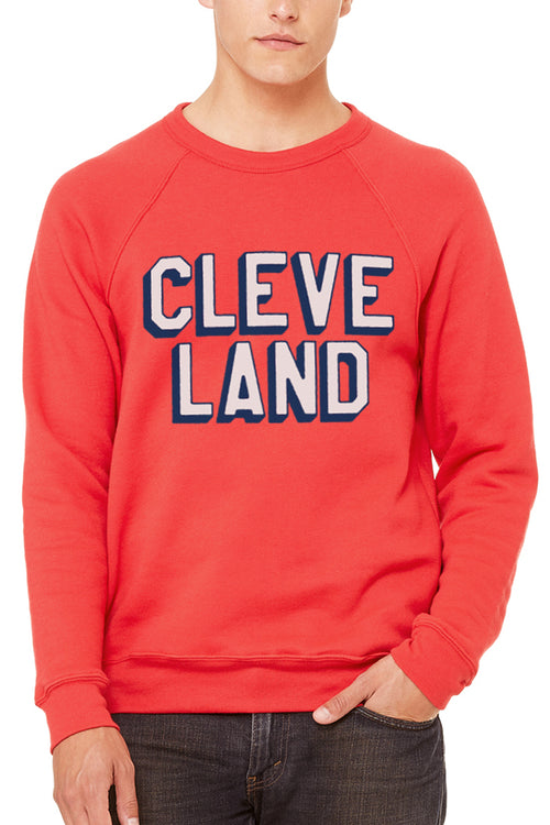 CLEVE LAND Block Letter - Red - Fleece Crewneck Sweatshirt