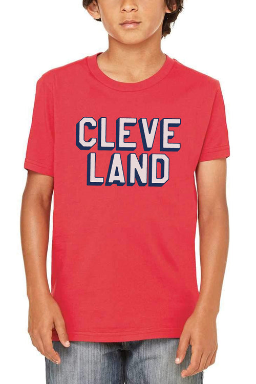 CLEVE LAND Block Letter - Red - Kids Crew