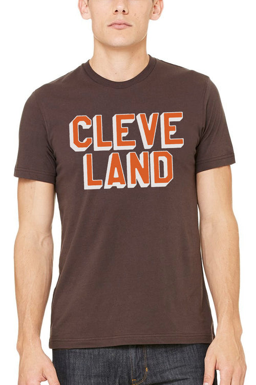 CLEVE LAND Block Letter - Brown/Orange - Unisex Crew - CLE Clothing Co.