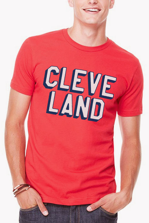 CLEVE LAND Block Letter - Red - Unisex Crew