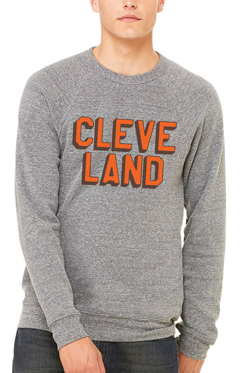 CLEVE LAND Block Letter - Brown/Orange - Fleece Crewneck Sweatshirt - CLE Clothing Co.