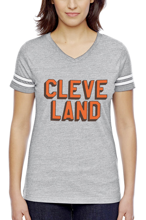 CLEVE LAND Block Letter - Brown/Orange - Womens V-Neck Jersey
