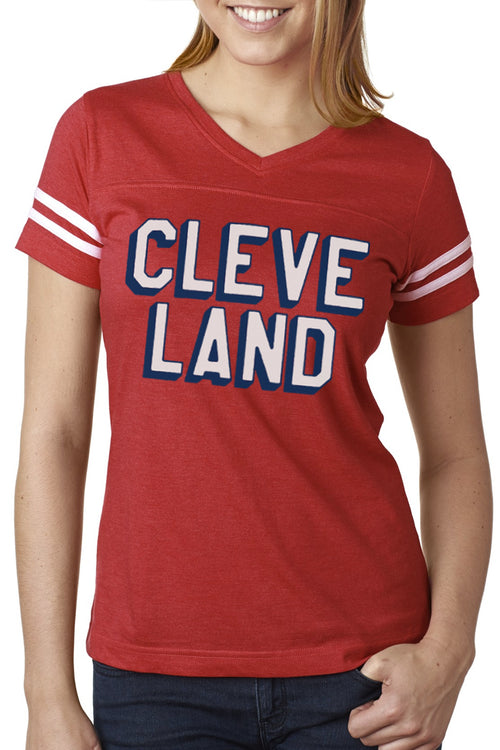 CLEVE LAND Block Letter - Red/White - Womens V-Neck Jersey