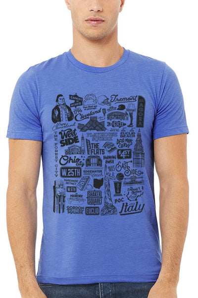 Cleveland Collage - Unisex Crew - Heather Blue