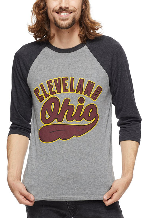 Cleveland, Ohio - Wine/Gold - Unisex Raglan - CLE Clothing Co.