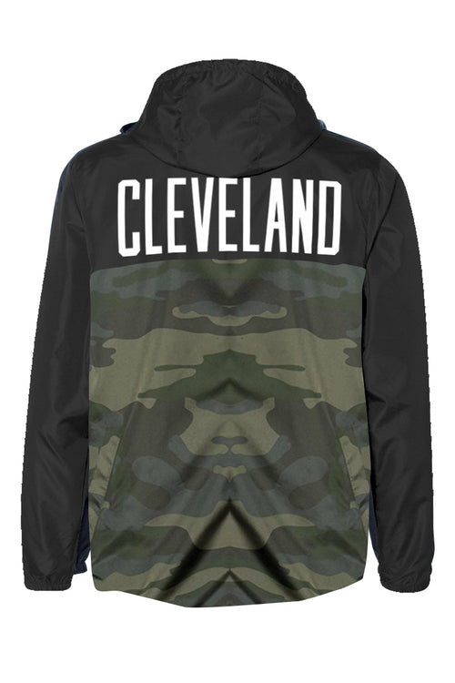 Cleveland Patch Unisex Windbreaker - Black/Camo - CLE Clothing Co.