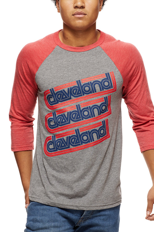 Cleveland Repeat - Navy/Red - Unisex Raglan - CLE Clothing Co.