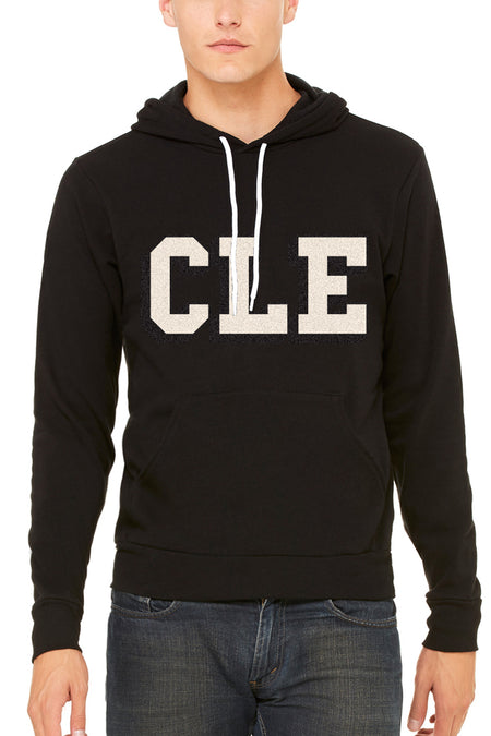 CLEVE LAND Block Letter - Brown/Orange - Fleece Crewneck Sweatshirt
