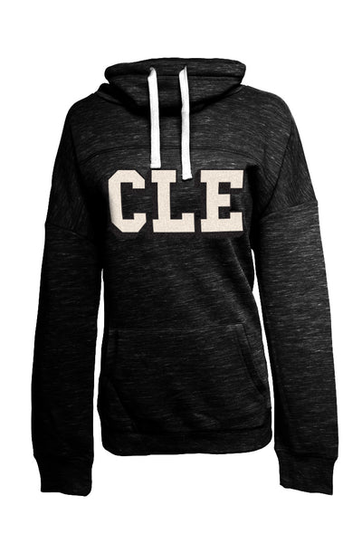 CLE College - Black/White - Womens Cowlneck Sweatshirt