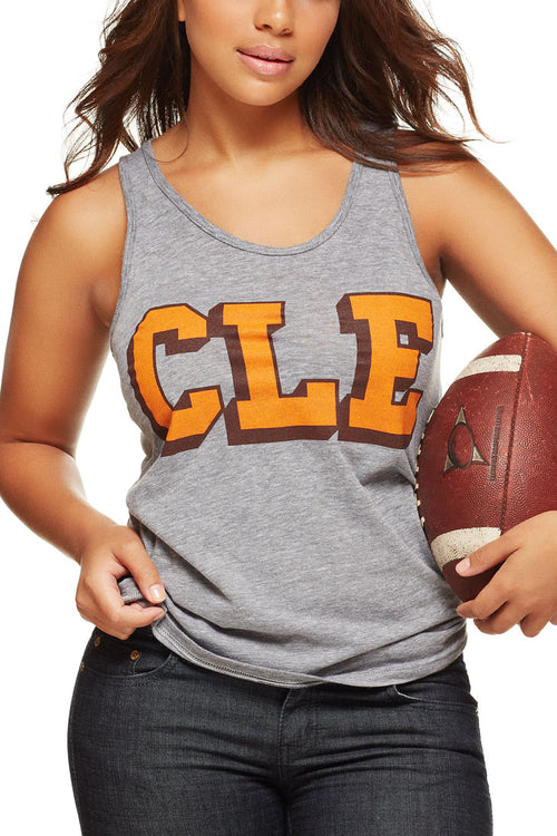 CLE College - Brown/Orange - Unisex Tank - CLE Clothing Co.