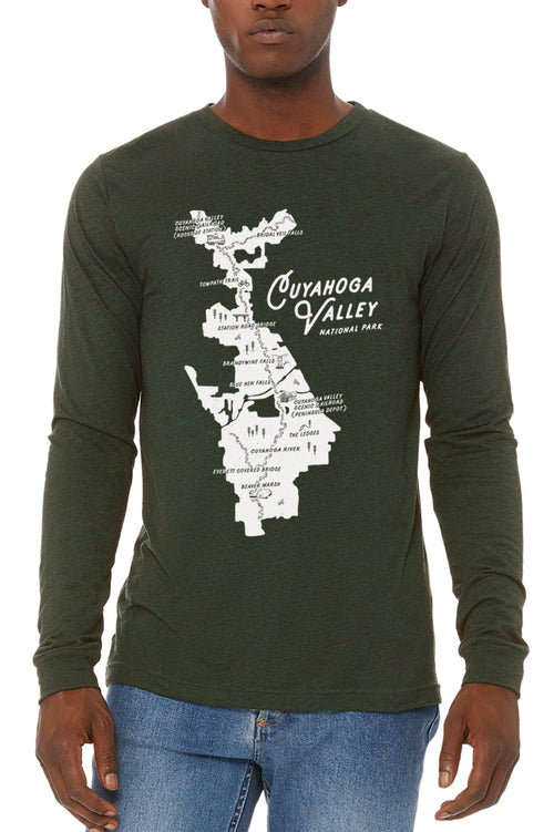CVNP Map - Unisex Long Sleeve Crew - CLE Clothing Co.