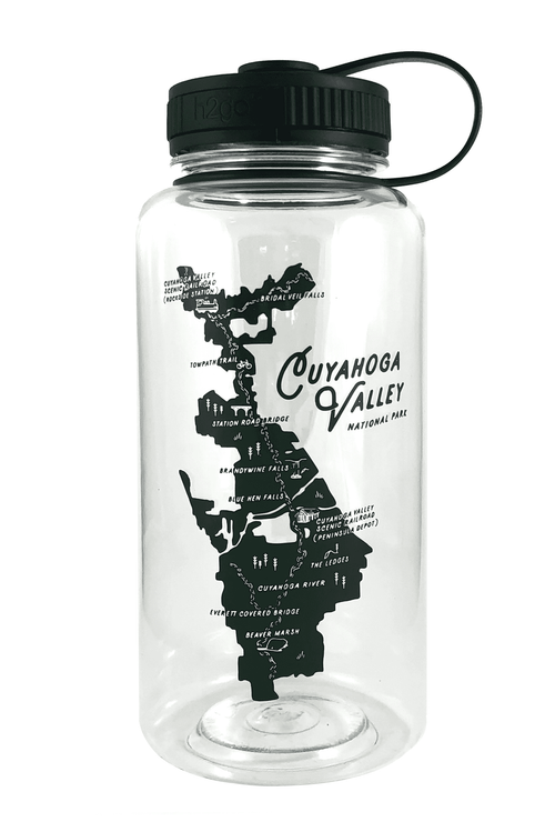 h2go® 34oz Wide Mouth Water Bottle CVNP Map - CLE Clothing Co.